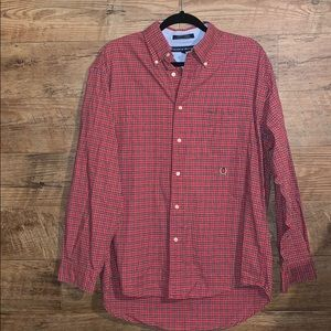 Tommy Hilfiger long sleeve button Large red plaid